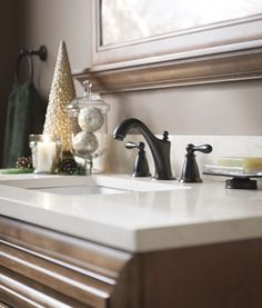 A Mediterranean bronze #faucet in the #bath adds a classic touch.