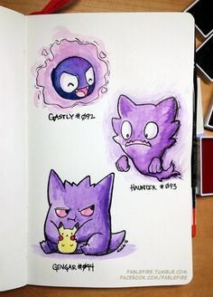 160307 Gastly Trio by fablefire.deviantart.com on @DeviantArt