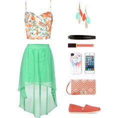 Created by richie-xox  #highlow #skirt #GREEN #coral #toms #springsummer2014 #summerstyle