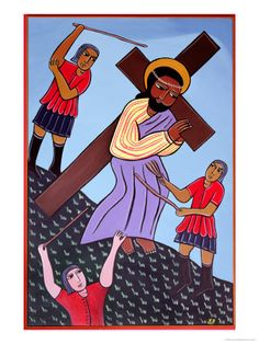 Jesus Bears His Cross, No. 2 in 14 Stations of the Cross Series, 2002 by Laura James