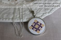 Necklace || Purple & Yellow Embroidered Pendant || Ukrainian embroidery || Lacy Cross design LC112109