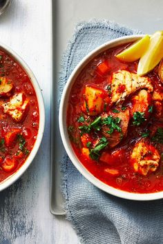 "Manhattan Fish Chowder | ""Northeasterners know the satisfying benefits of a good chowder—warm and comforting without being full of unnecessary fat. This is especially true when it's a Manhattan-style red chowder, which switches out all that cream for a base of tomato and white wine. For deeper flavor try using fire-roasted tomatoes."" #souprecipes #soupinspiration #soup #stew #chili #soupideas"