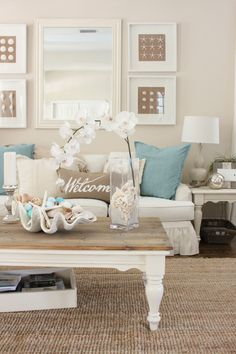 Here we see how the seaside influences design, with a focus on sandy shades, rather than blue. Click on image to see more living room ideas and designs.