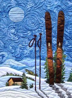 Skiing Under the Moonlight Quilt Pattern QFA-102 (advanced beginner, wall hanging)