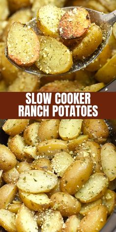 Slow Cooker Ranch Potatoes are hearty, tasty, and so easy to make in the crockpo. Slow Cooker Ranch Potatoes are hearty, tasty, and so easy to make in the crockpot. They're the perfect side dish for weeknight dinners or holiday parties. Potato Recipes Crockpot, Crockpot Side Dishes, Side Dish Recipes, Easy Dinner Recipes, Easy Meals, Party Crockpot Recipes, Dinner Crockpot, Crockpot Meals, Easy Dinners For Two