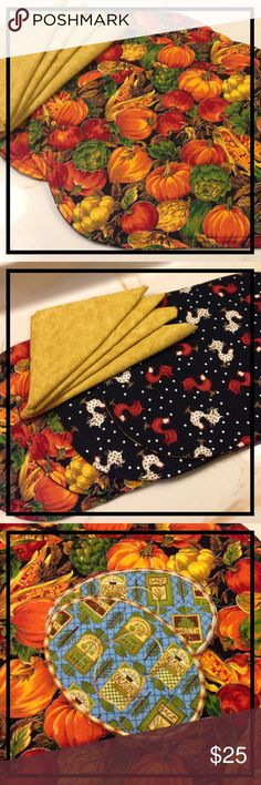 PLACEMATS DRAWER LINERS FALL & ROOSTERS REVERSIBLE  TABLESCAPING FASHION & HIGHER END ORGANIZING  Versatile placemats can be used for more than TABLESCAPING...Use to protect & pad makeup drawers, delicate lingerie, jewlery, silverware, etc.  SET of 4 reversible! placemats w/4 free napkins & 2 BONUS OVEN MITTS.   Created by a talented quilter in her home studio. Only high quality fabrics, threads, & notions used, allowing for easy care.    GREAT GIFT!  Other