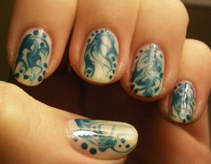 This is my first experience with needle dragging and I have to say I really enjoyed it! Much easier than water marbling and I like the results much better. My middle finger is probably my favorite.  Love & Beauty Teal, Love & Beauty Cream (I Know there can be multiple polishes with the same name from this brand, despite being different colors, these were in the little bottles that are $1.50)