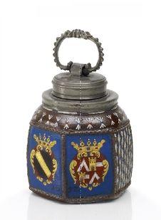 Keramik: Schraubflasche mit Wappen derer von Herberstein. .