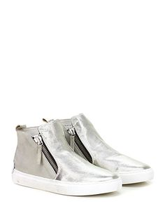 Crime - Sneakers - Donna - Sneaker in pelle lavorata laminata e camoscio vintage con zip su ambo i lati e suola in gomma effeto vintage. Tacco 25. - GREY\SILVER - € 149.00