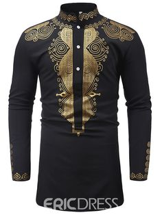 FirH Mens Standing Collar Retro Vintage Long Sleeve Court Style Embroidery Shirt