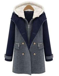 Manteau à capuche zippé avec poches color-block -French SheIn(Sheinside)  Hiver 3418fe0ff147