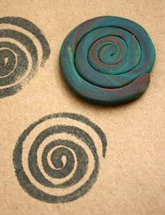 plasticine stamp printing.    Spirales
