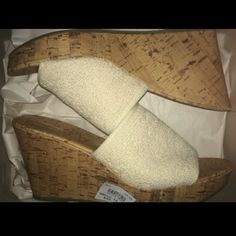 Lace slip on wedges NWT , never worn or used sandals from Montego Bay. Beautiful shoe! Size 10 and stretchy to fit even a wide foot. Beautiful cream / off white color. Montego Bay Shoes Wedges