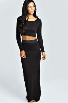 Tilly Long Sleeve Crop Top & Maxi Skirt Co-Ord Set at boohoo.com