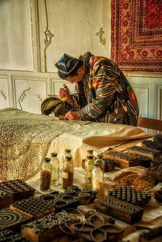 The Master Woodblock Printer at Work, Uzbekistan.