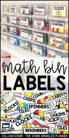 Organize all of your math manipulatives and math supplies with these clear, colorful labels. Help students access math supplies independently during your guided math centers, or center rotations. Having your supplies clearly labeled and organized is a g Classroom Organisation, Teacher Organization, Classroom Ideas, Classroom Supplies, Future Classroom, Math Classroom Decorations, Organizing School Supplies, Classroom Library Labels, Year 1 Classroom