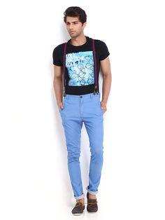 Blue pants with braces