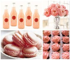 Pink Grapefruit Izze soda would be cute on ice in a big silver bowl.  Pretty centerpiece too.