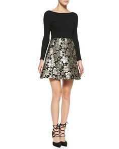 Alice + Olivia Sarah Long-Sleeve A-Line Cocktail Dress  The Sarah dress by Alice + Olivia features a modern A-line cut, blooming with bold, gold flowers