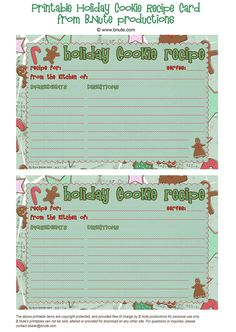 Free Printable Christmas Cards   Free Printable Holiday Cookie Recipe Cards by B.Nute productions