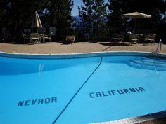 LAKE TAHOE-- At the Cal-Neva Lodge in Lake Tahoe, the Nevada/California state line actually runs through the swimming pool. Cal Neva Resort, Spa & Casino