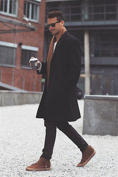 brown and black // sneakers, denim, topcoat, scarf, sunglasses, menswear, mens style