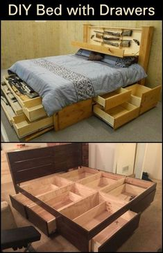 DIY bed with drawers - beds - Diy Wooden Bedroom Furniture 2020 Platform Bed With Drawers, Bed Frame With Drawers, Bed Frame With Storage, Diy Bed Frame, Bed With Drawers Underneath, Bed Drawers, Platform Bed Storage, Bedroom Drawers, Platform Beds
