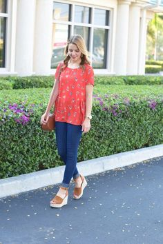 Red Floral Peplum top under $45 | spring style | spring fashion | fashion for spring and summer | warm weather fashion | style tips for spring | fashion tips for spring || Absolutely Annie