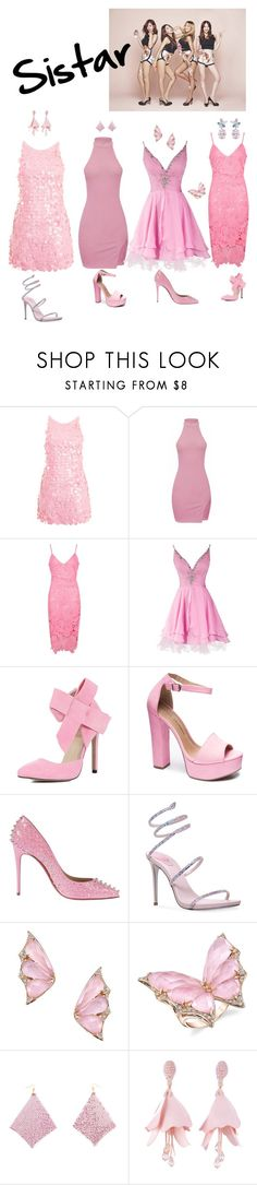 """""""Untitled #6"""" by pucca-mouastar ❤ liked on Polyvore featuring Motel, Boohoo, Chinese Laundry, Christian Louboutin, René Caovilla, Stephen Webster, Oscar de la Renta, Anabela Chan, kpop and fabulous"""