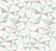 coupon de tissu pour loisirs créatifs et patchwork - Motif géométrique . Triangles vert d'eau, beige et gris perle sur