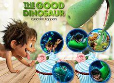 Good Dinosaur Cupcake Toppers, Birthday Stickers, Kids Decor, Digital Download
