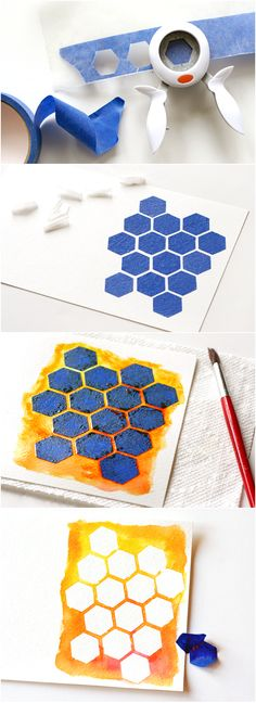 Use punched pieces of painter's tape to create a gorgeous #watercolor #card! www2.fiskars.com