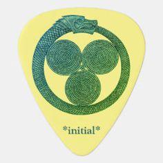Customizable Guitar Pick OUROBOROS w/SPIRALS green Irish Celtic, Dragon Slayer, Greek Art, Guitar Picks, Rainbow Unicorn, Spirals, Initials, Symbols, Future