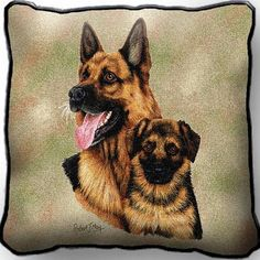 German Shepherd Dog and Puppy Portrait Pillow