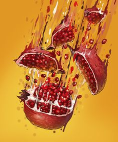 Beautiful illustration of the theme of fruit ninja VITAMIN BOMB by Georgi Dimitrov - Erase, via Behance L'art Du Fruit, Fruit Art, Graphic Design Illustration, Graphic Art, Illustration Art, Colorful Drawings, Art Drawings, Get Lean, Food Illustrations