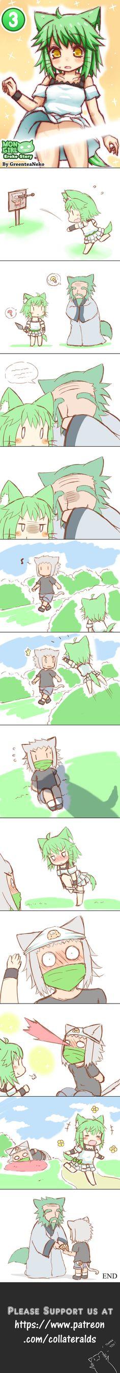 MonGirl Eroko Chapter 3 by GreenTeaNeko Anime Meme, Manga Anime, Cute Comics, Funny Comics, Green Tea Neko, Anime Furry, Short Comics, Anime Animals, Manga Comics