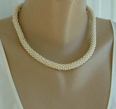 Braided Seed Pearl Choker Necklace Vintage Wedding Jewelry