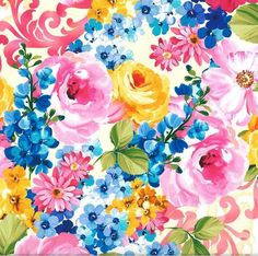 Michael Miller - Paradise Dreams-Fantasy Bloom Spring Digitally Printed Fabric -*Sold by Yard Continuous Increments* Dream Fantasy, Open Rose, Michael Miller Fabric, Large Flowers, Beautiful Flowers, Flower Wallpaper, Spring Flowers, Printing On Fabric, Digital Prints