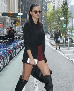 Adriana Lima #VictoriaSecret #Maybelline Winter Shorts, Suede Shorts, Adriana Lima, Maybelline, Leather Skirt, Heels, Boots, Counting, Beauty