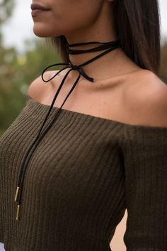 Bolo choker necklace. This trendy wrap necklace can be worn many different ways whether it's tied in a bow, wrapped multiple times around the neck and knotted long, or left un tied!