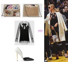 Beyoncé was spotted yesterday (February 6th) at Golden State Warriors vs Oklahoma Thunder game wearing GUCCI Net Tulle Top ($1,380), TOM FORD D'Orsay Two-Tone Leather Pumps ($1,190) and GUCCI Dionysus...