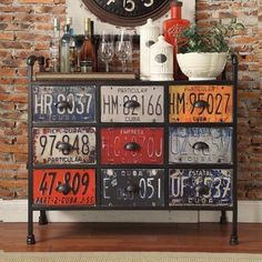Soho Industrial Metal Chest Console Table Cabinet - Overstock™ Shopping - Big Discounts on Buffets Car Part Furniture, Automotive Furniture, Automotive Decor, Furniture Deals, Furniture Makeover, Automotive Carpet, Online Furniture, License Plate Crafts, Old License Plates
