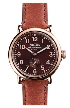 Shinola 'The Runwell' Leather Strap Watch