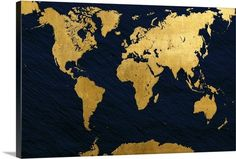 Icanvas world map on stone background canvas canvases stone and map of the world in gold foil against a deep blue background gold foil gumiabroncs Gallery