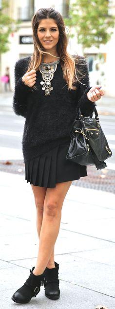 Black Embellished Fluffy Sweater by TrendyTaste