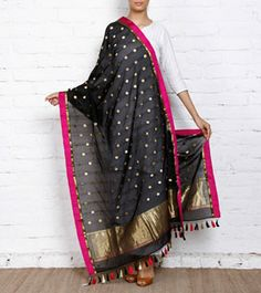 Black & Purple Silk Georgette Dupatta