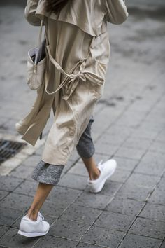 trench coat + white sneakers
