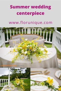 Yellow flower wedding centerpiece for a sweetheart table Yellow Wedding Flowers, Yellow Flowers, Summer Wedding Centerpieces, Sweetheart Table, Bouquet, Table Decorations, Bunch Of Flowers, Bouquets