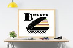 Funny Burger printable wall art -- Poster size digital print -- SVG file included -- Original modern art posters -- Free Commercial Use