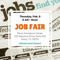 Looking for a great career? Look no further! The @ntmwd will be at the Plano Workforce Center for a job fair TOMORROW Feb. 9 from 9 AM to Noon. We are looking for a variety of qualified applicants to fill positions in engineering plant operations IT heavy equipment laboratory regulatory compliance and more! Visit with recruiters on the spot. Can't make it? Visit our careers page for more information and apply online. A new job or career is waiting for you! http://ift.tt/2kOUJxX #careers…